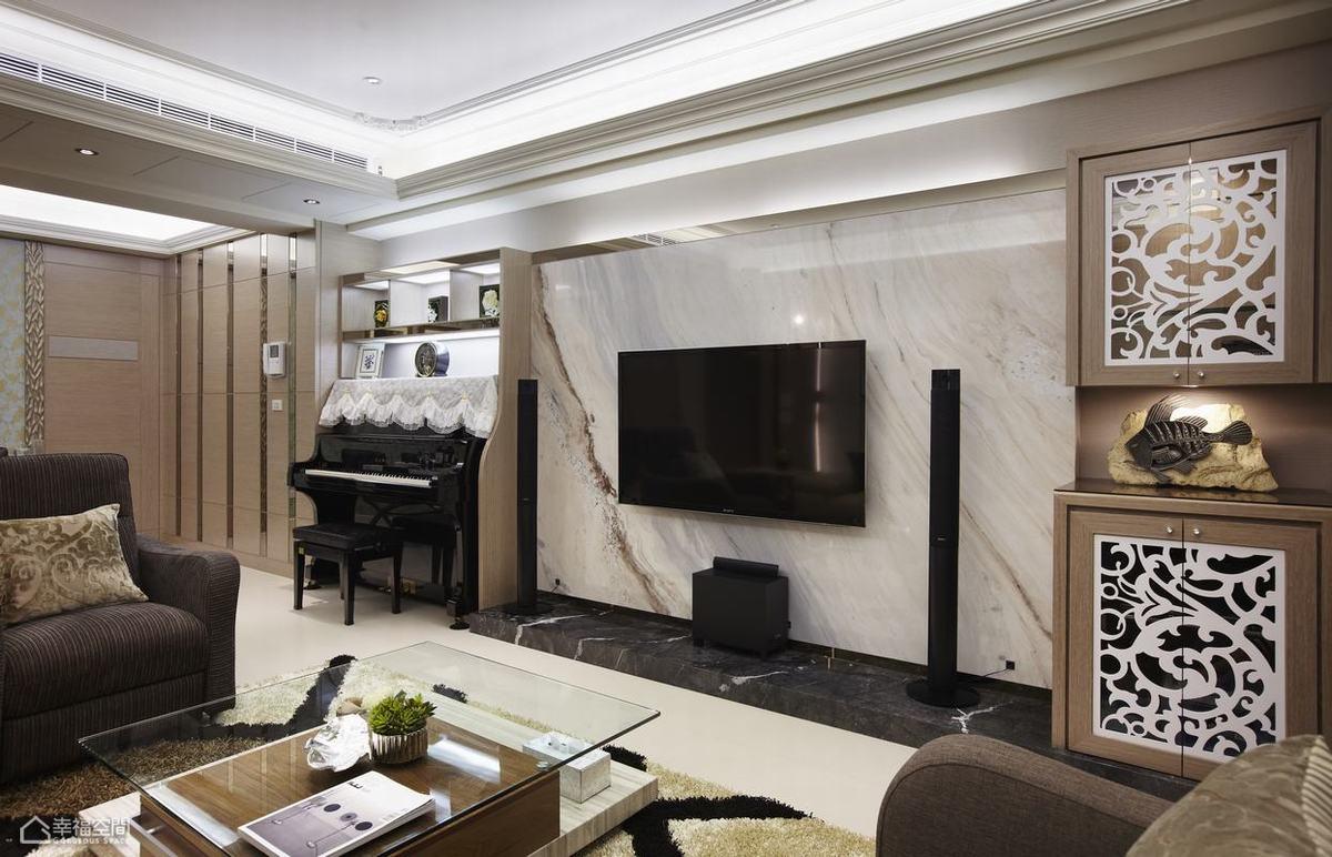 混搭风格公寓浪漫电视背景墙效果图