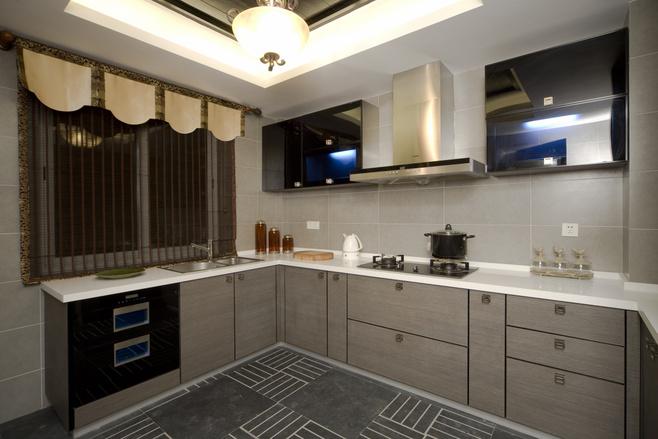 新中式风格时尚灰色厨房橱柜设计图