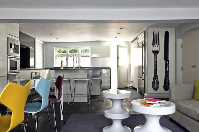 中式风格简洁白色厨房餐桌图片