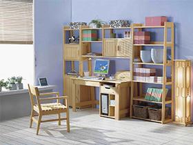 原木色环保松木书房书柜书桌