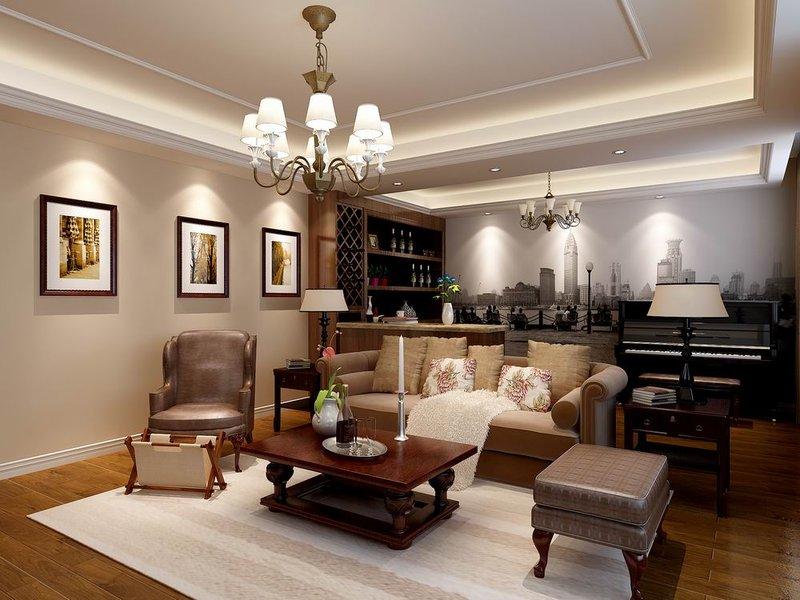15 20万130平米美式三居室装修效果图,现代美式风装修案例效果图 高清图片