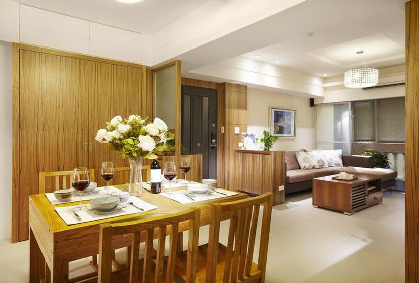 中式风格大气原木色餐厅装修效果图