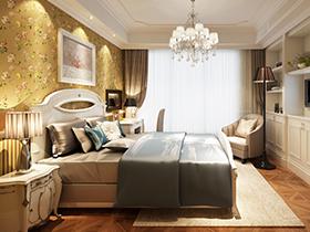 美式現代臥室床品套圖