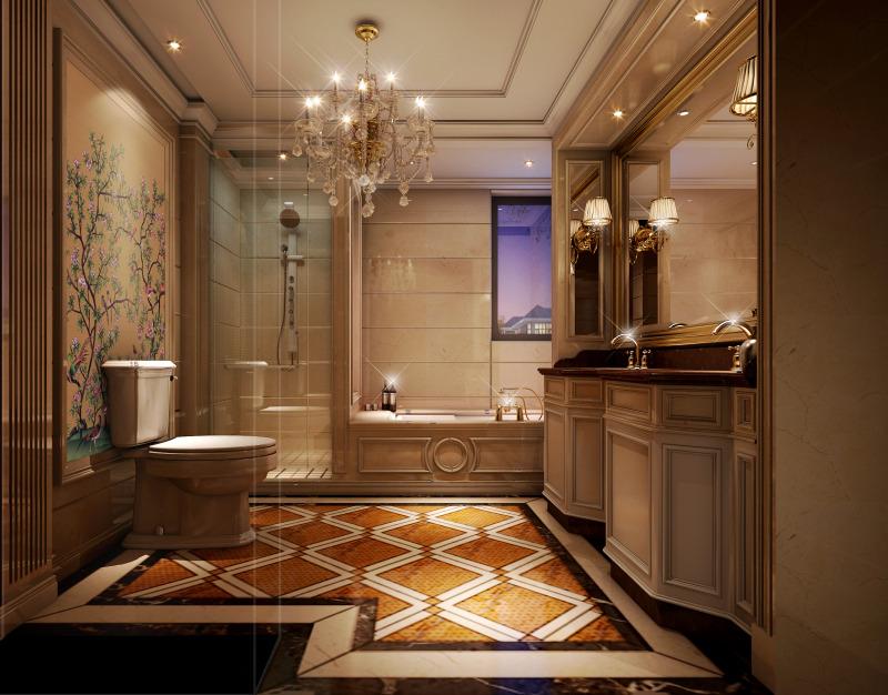 欧式风格温馨卫生间灯具效果图
