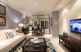 混搭风格小清新90平米客厅装修