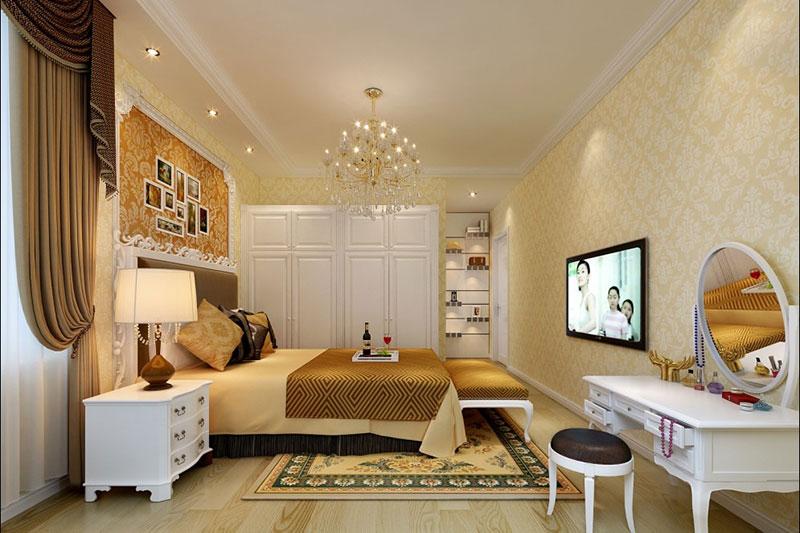 欧式风格温馨卧室吊顶装修效果图