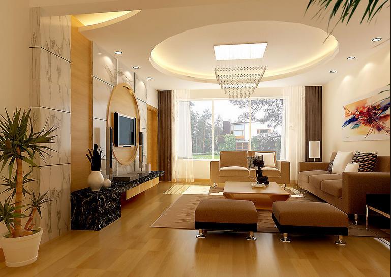 现代简约风格时尚暖色调客厅电视柜效果图高清图片