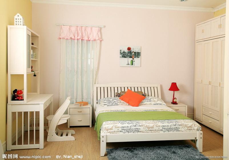 宜家风格浪漫暖色调儿童房床图片