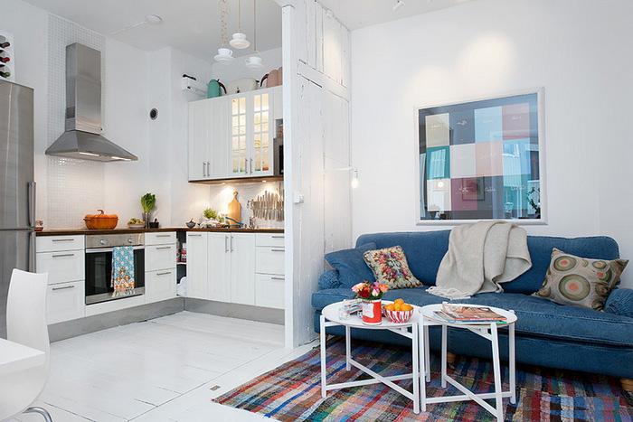 简约风格时尚蓝色客厅沙发布艺沙发效果图