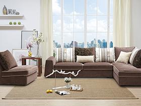 柔软布艺咖啡色沙发