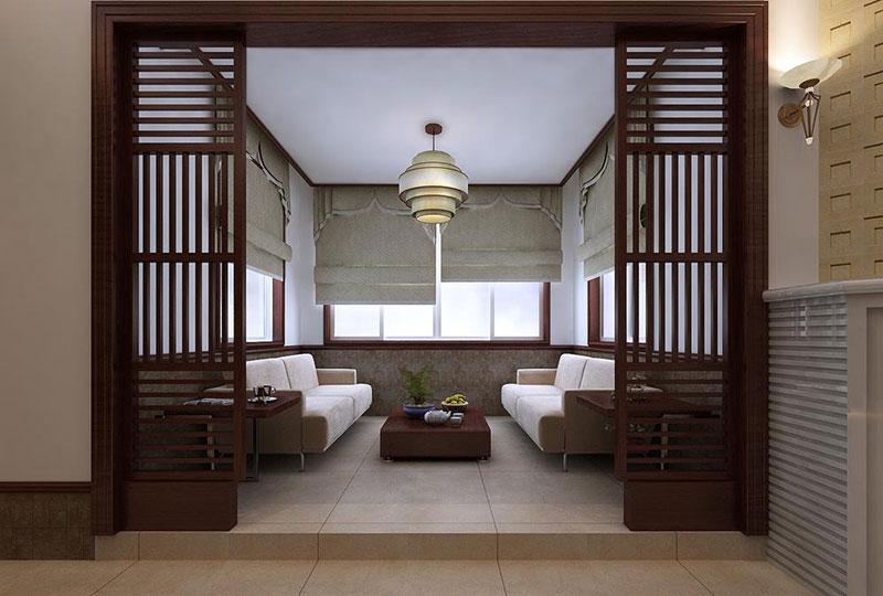 中式风格稳重客厅吊顶效果图