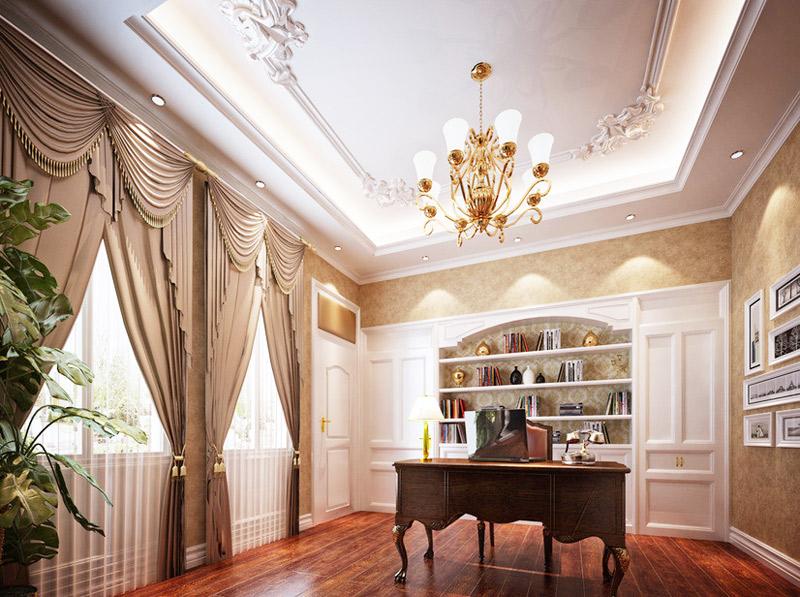 欧式风格奢华书房装修图片