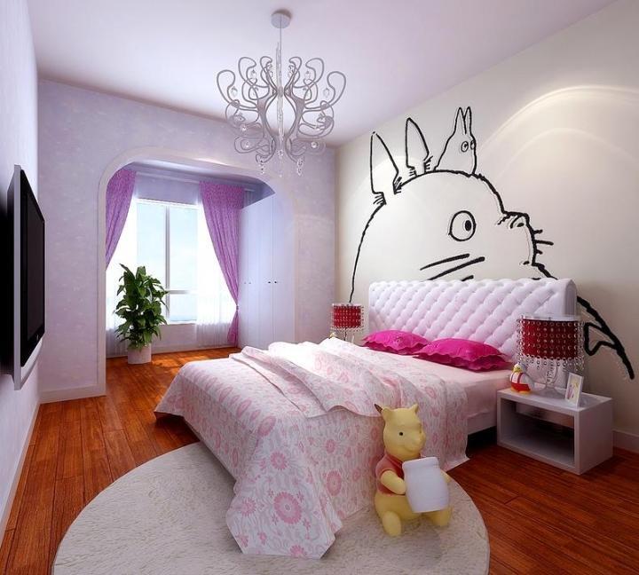 田园风格可爱儿童房床图片