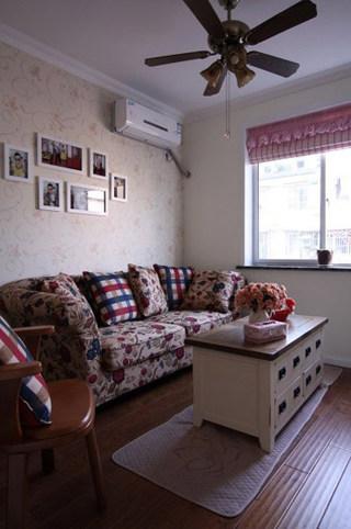 混搭风格一室一厅温馨沙发背景墙旧房改造设计图
