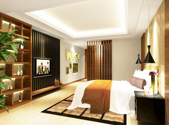 中式风格卧室电视背景墙设计图纸图片