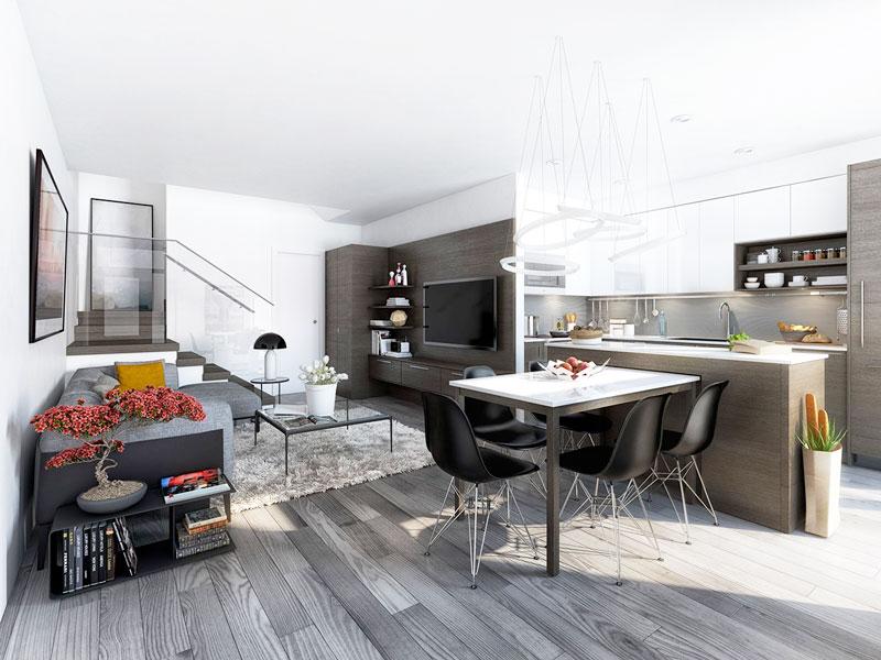 现代简约风格开放式厨房吧台效果图
