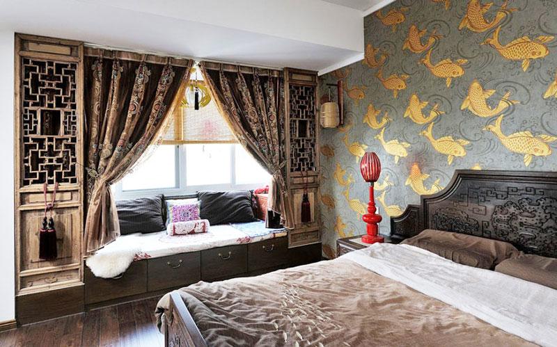 中式风格实用卧室飘窗设计图片