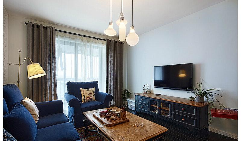 5-10万90平米美式二居室装修效果图,86平简约美式装修图片