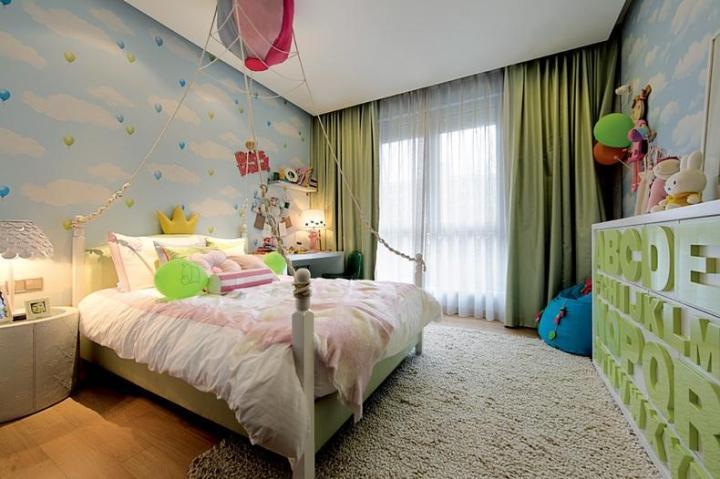 宜家风格可爱蓝色儿童房装修效果图