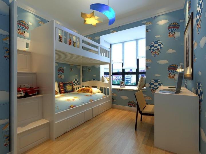 宜家风格可爱蓝色儿童房装修_齐家网装修效果图