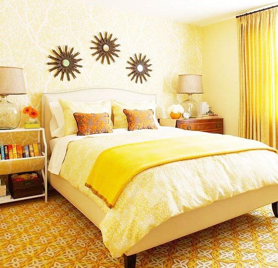 田园风格小清新黄色卧室装修