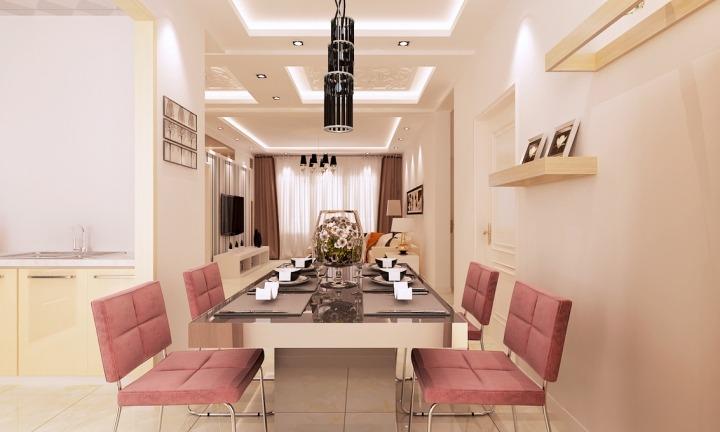 现代简约风格唯美餐厅吊顶装修效果图