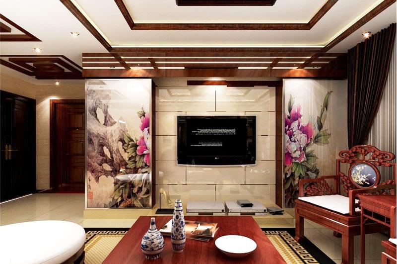 中式风格古典电视背景墙设计图