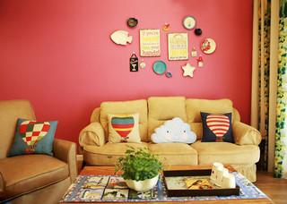 美式风格梦幻10-15万90平米沙发背景墙装修效果图