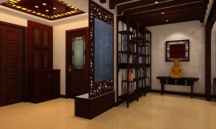 中式风格大气玄关柜图片