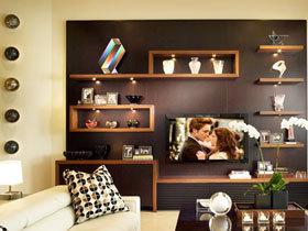 搁架电视背景墙 17图装饰实用墙面