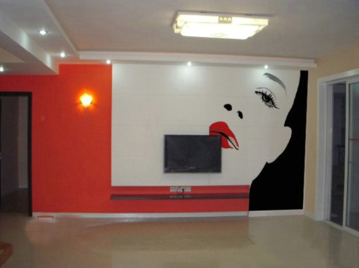 现代简约风格时尚手绘墙装修图片