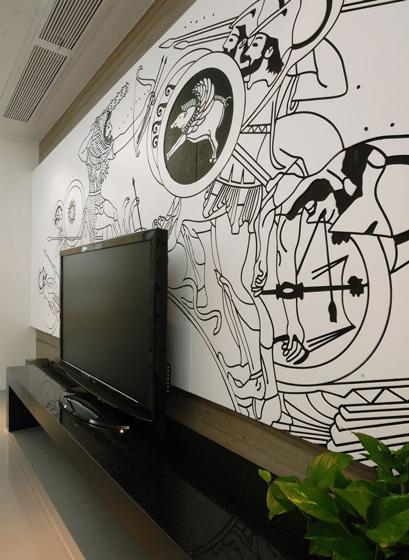 美式风格时尚手绘墙设计图
