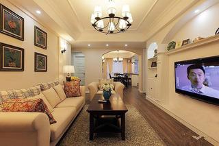 美式风格两室一厅120平米客厅婚房平面图