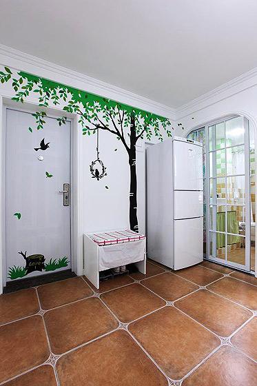 温馨70平米玄关壁纸旧房改造平面图