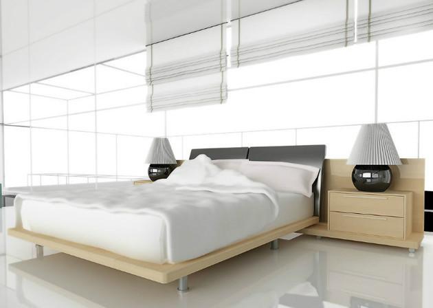 现代简约风格黄色卧室床图片