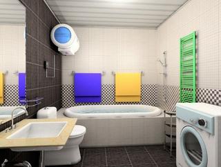 黄色卫生间洗手台效果图