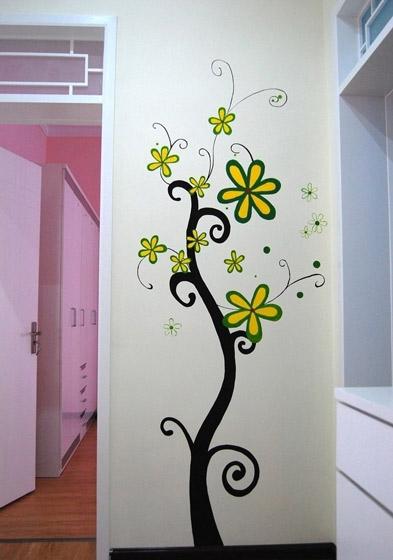 甜美简欧风客厅 树苗手绘墙效果图_装修百科