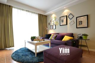 简约风格二居室小清新客厅沙发布艺沙发效果图