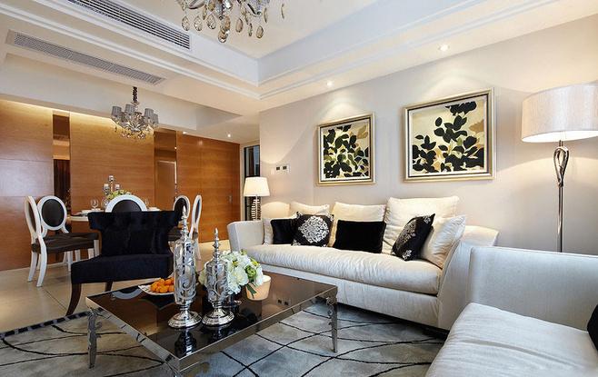 欧式风格奢华白色沙发背景墙设计图纸