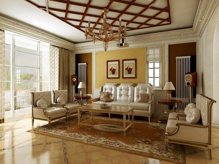 欧式风格奢华黄色沙发背景墙效果图