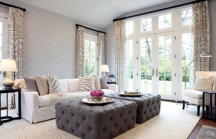 欧式风格灰色沙发背景墙设计图纸图片