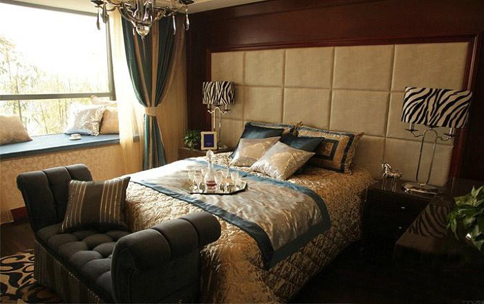 中式风格格子床头软包设计图