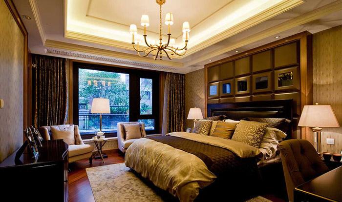 中式风格格子床头软包装潢