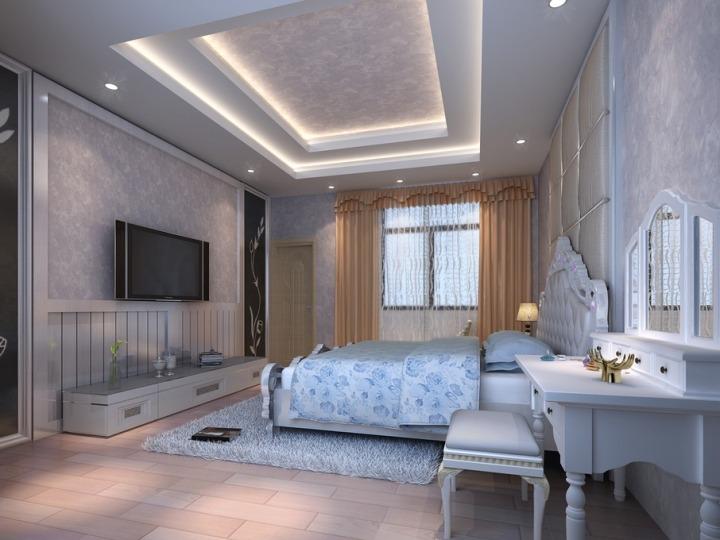 欧式风格豪华床头软包效果图图片