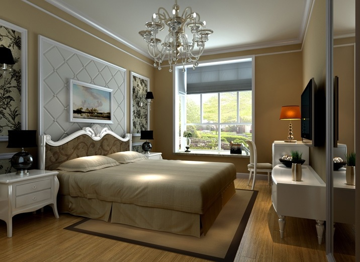 欧式风格豪华床头软包装修效果图
