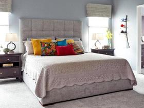 灰色系北欧风卧室 布艺软包床头设计