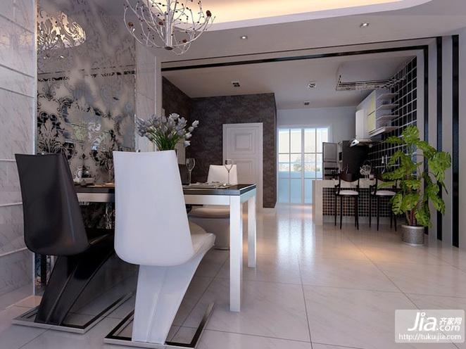 金地·铂悦三居室125平米B户型装修效果图