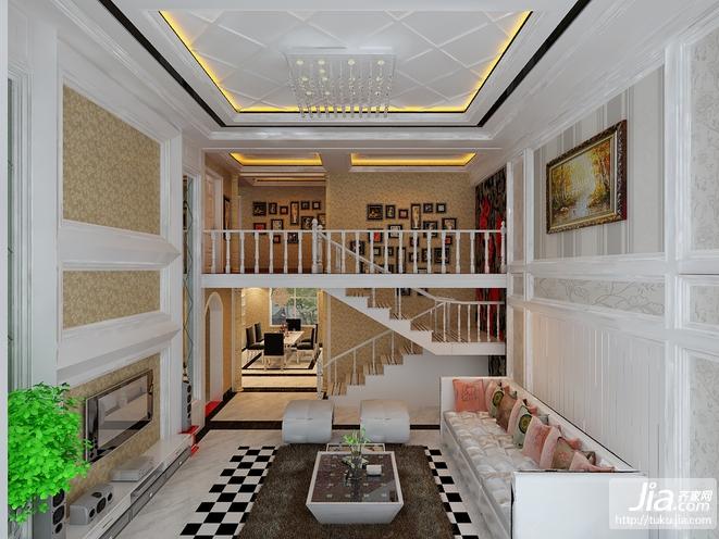 豪华复式 白色大气客厅装修效果图图片