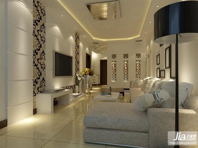 冷色调时尚大气的客厅装修图片
