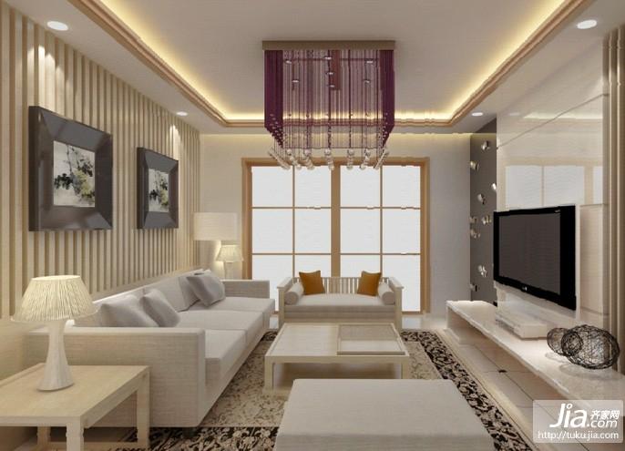 白色系时尚大气后现代风格客厅装修图片